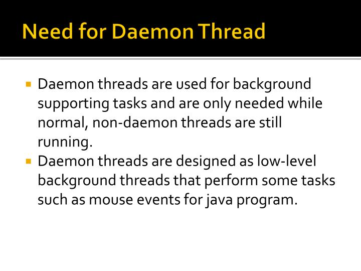 Need for Daemon Thread