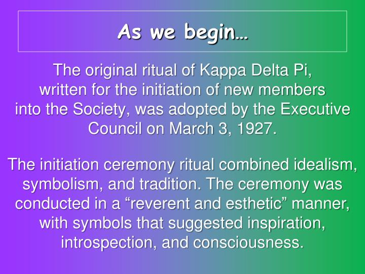 As we begin…