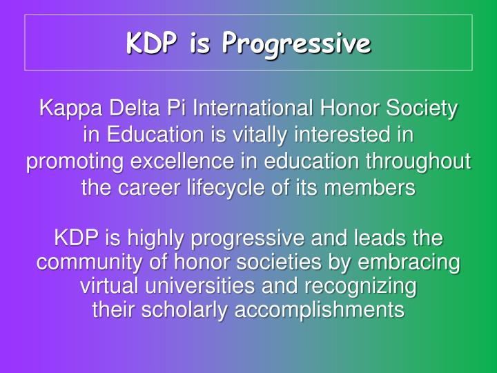 KDP is Progressive