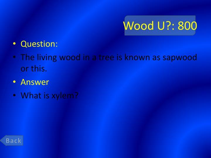 Wood U?: 800