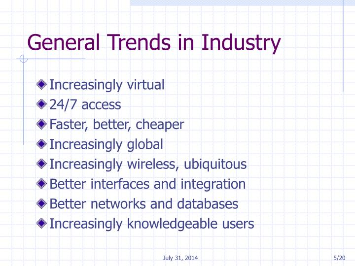 General Trends in Industry