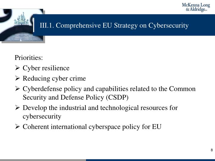 III.1. Comprehensive EU Strategy on