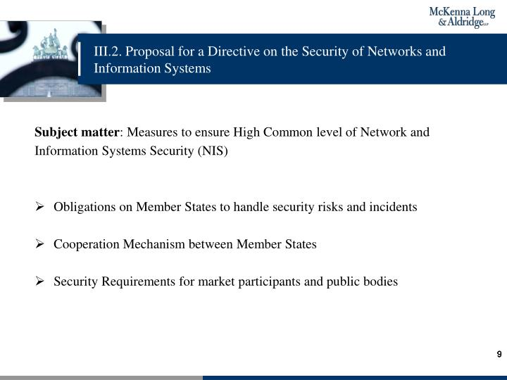 III.2. Proposal for a Directive on the Security of Networks and Information Systems
