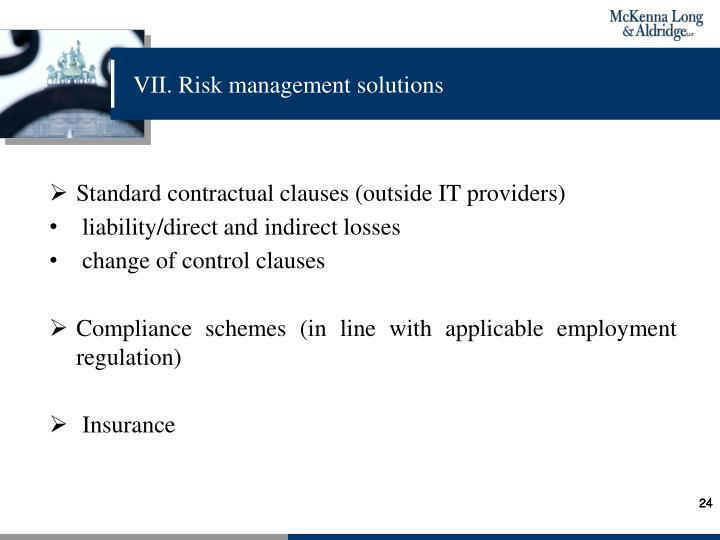 VII. Risk management solutions