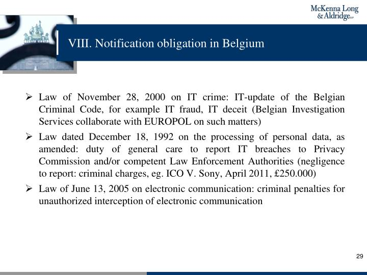 VIII. Notification obligation in Belgium