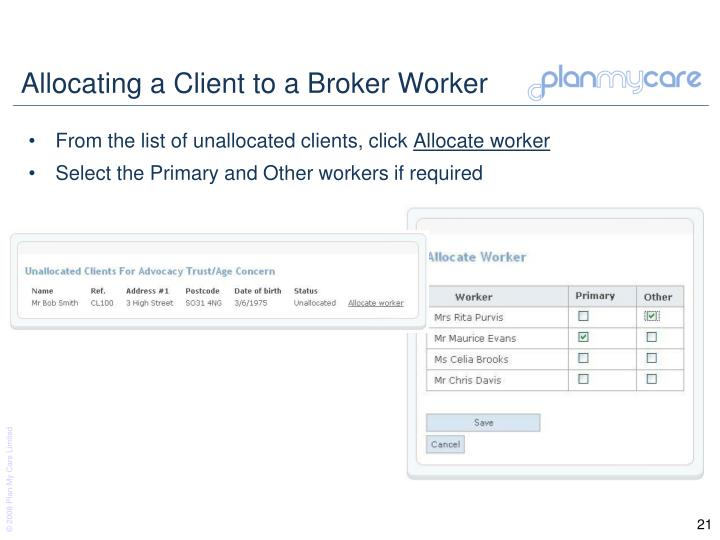 Allocating a Client to a Broker Worker