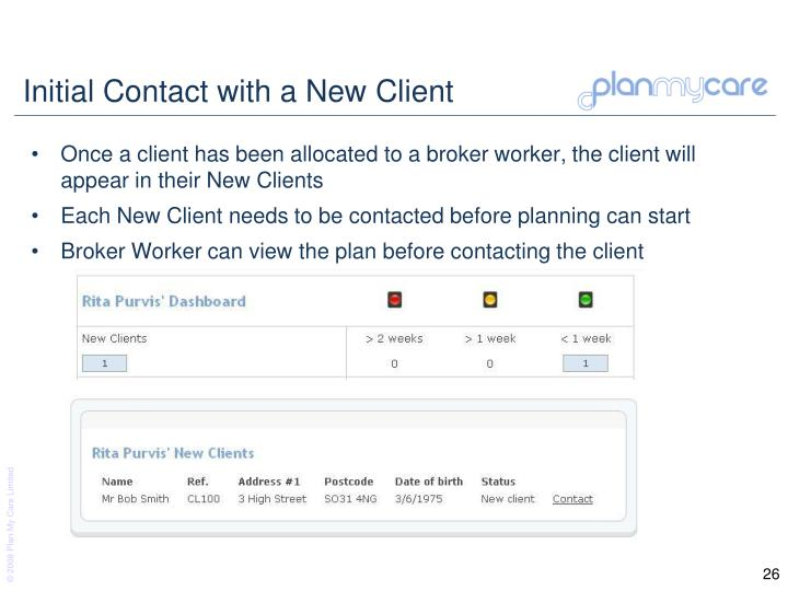Initial Contact with a New Client