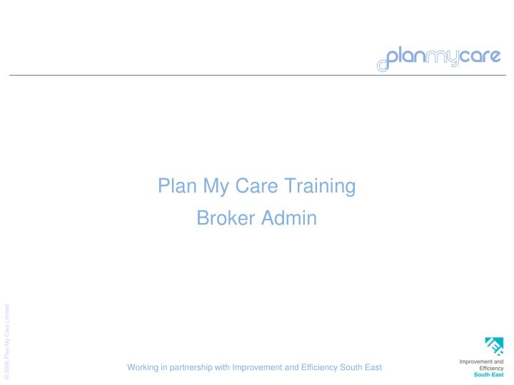 Plan My Care Training