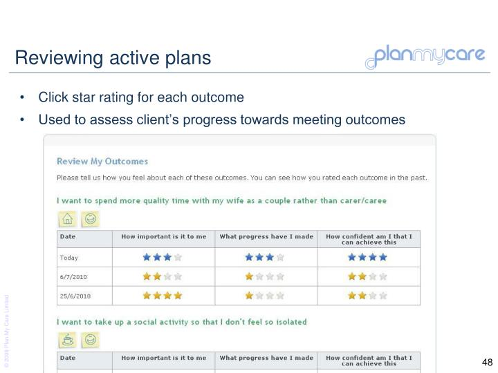 Reviewing active plans