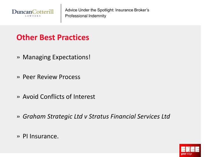 Advice Under the Spotlight: Insurance Broker's Professional Indemnity