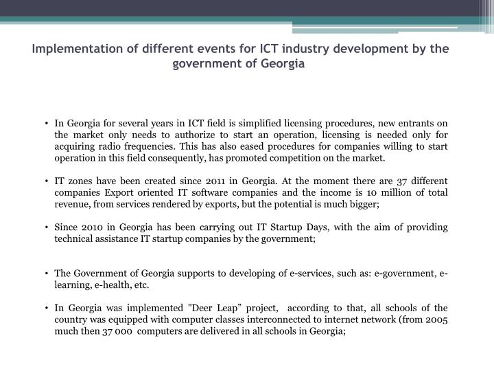Implementation of different events for ICT industry development by the government of Georgia