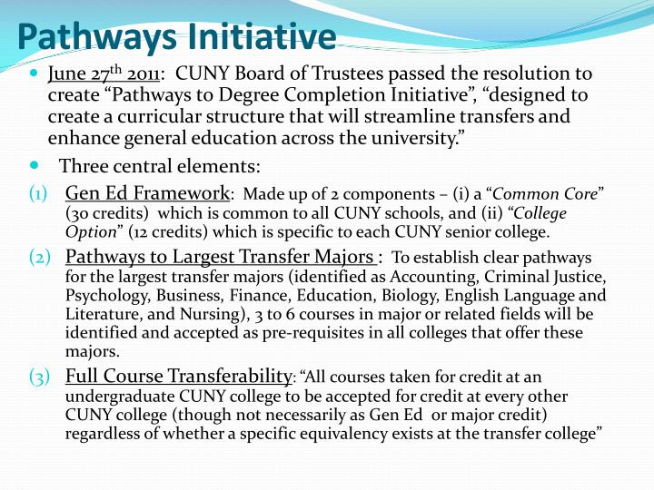 Pathways initiative