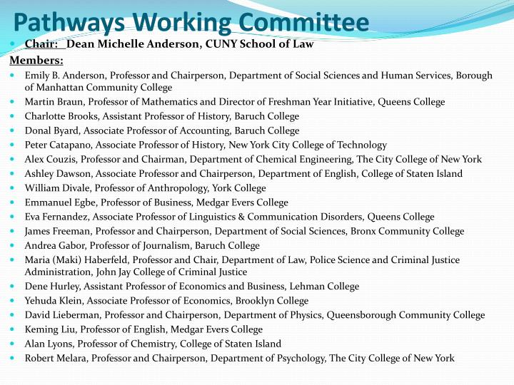 Pathways Working Committee