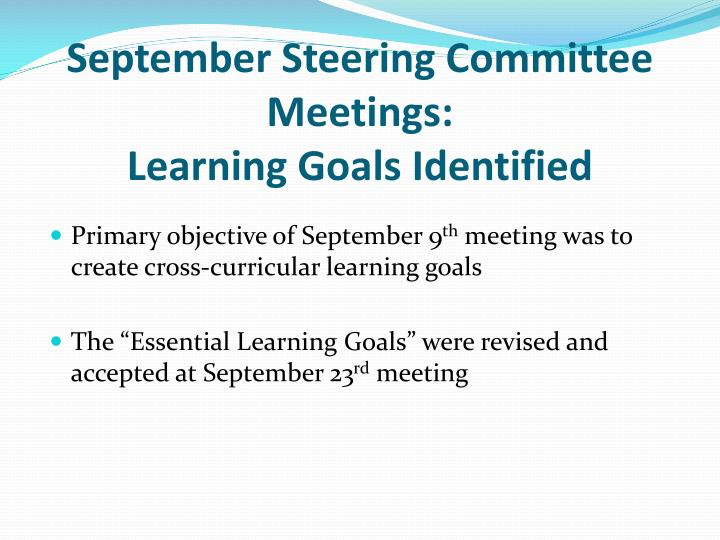 September Steering Committee Meetings: