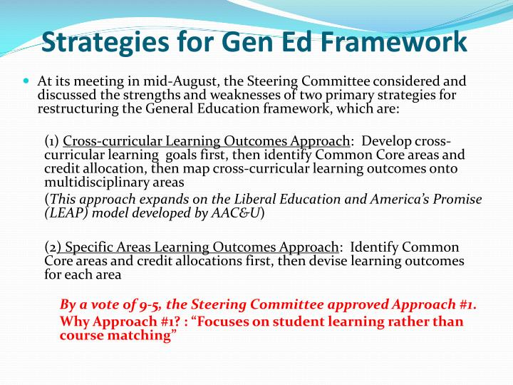 Strategies for Gen Ed Framework
