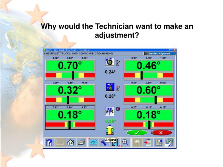 Why would the Technician want to make an adjustment?