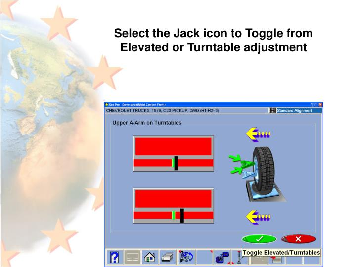 Select the Jack icon to Toggle from Elevated or Turntable adjustment