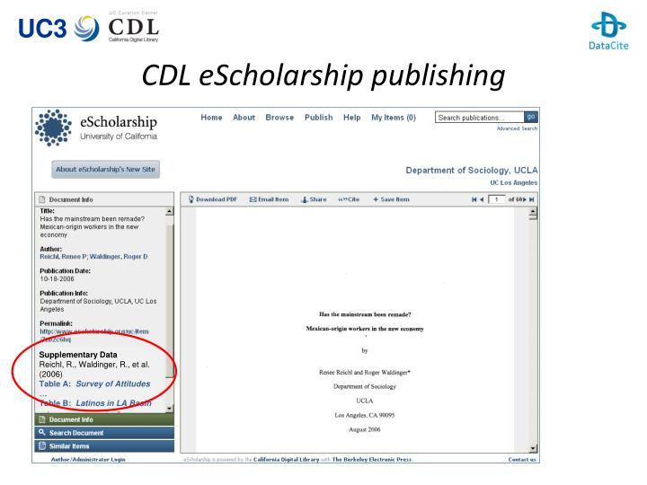 CDL eScholarship publishing