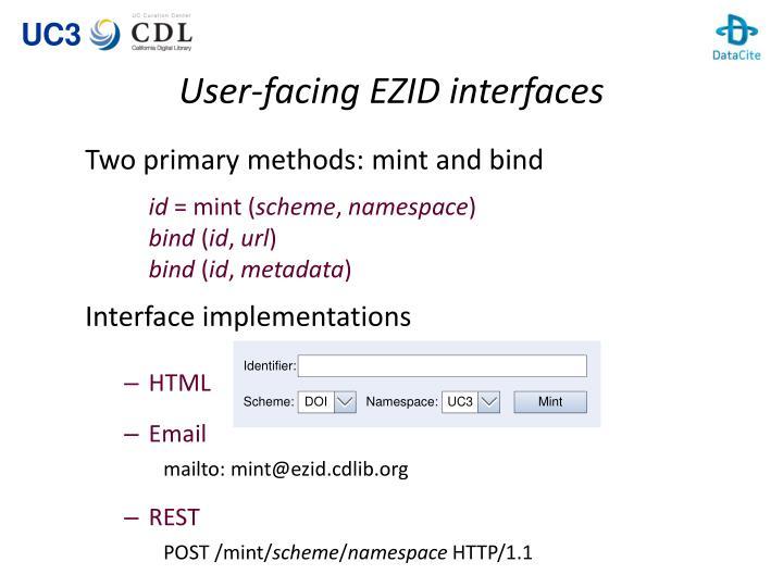 User-facing EZID interfaces