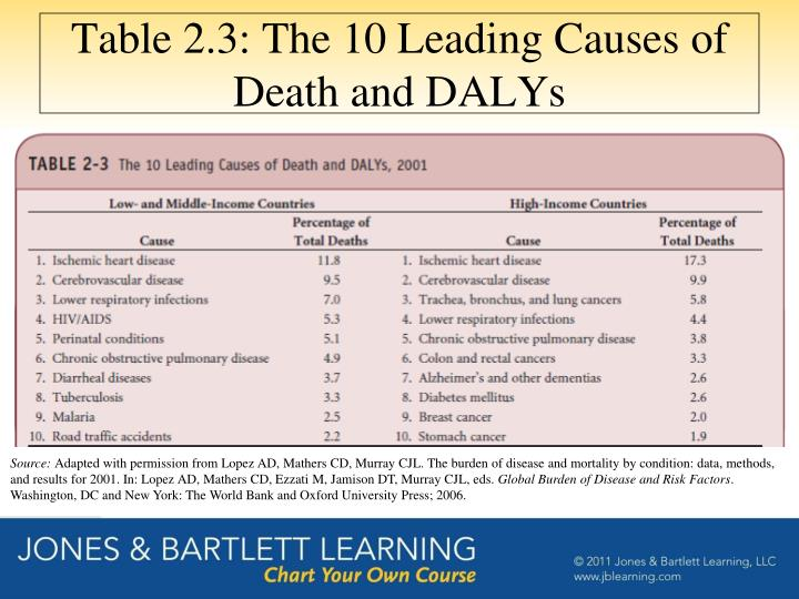 Table 2.3: The 10 Leading Causes of Death and DALYs