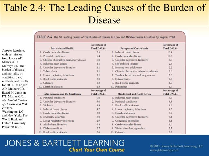 Table 2.4: The Leading Causes of the Burden of Disease