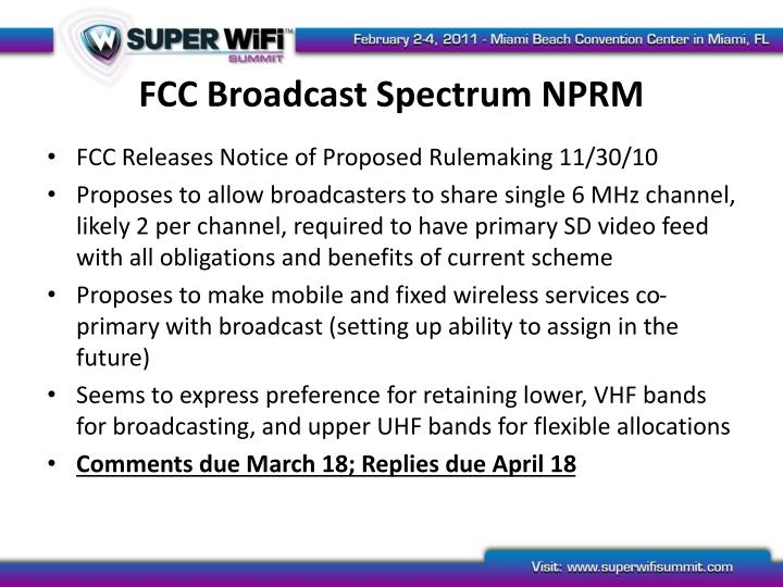 FCC Broadcast Spectrum NPRM