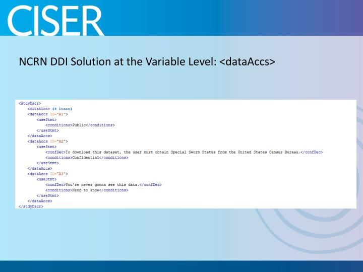 NCRN DDI Solution at the Variable Level: <