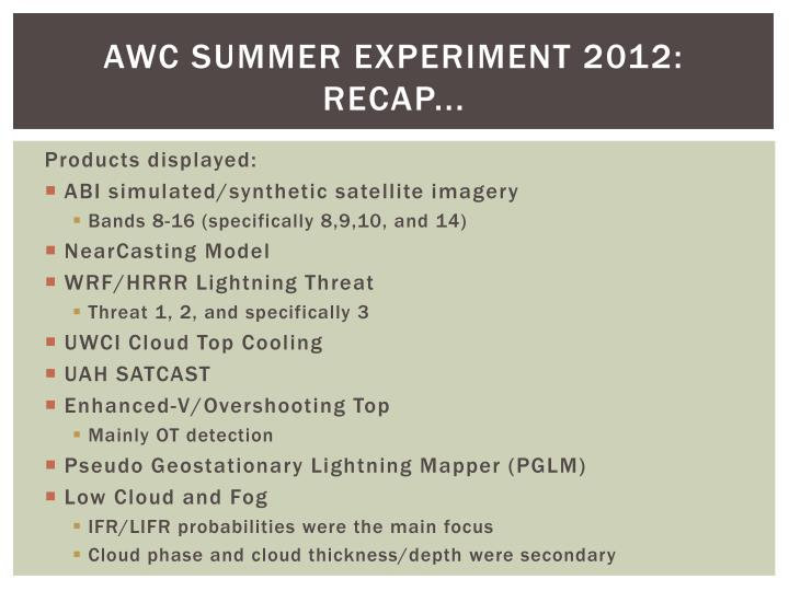 AWC Summer Experiment 2012: Recap...