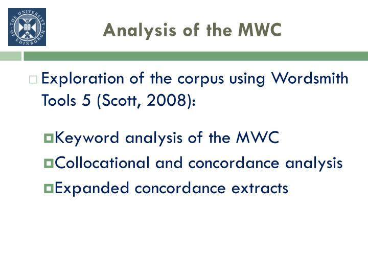 Analysis of the MWC