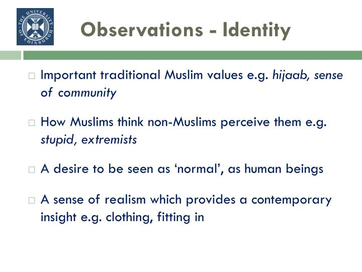 Observations - Identity
