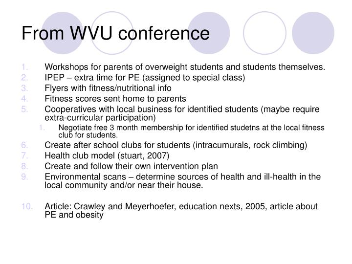 From WVU conference