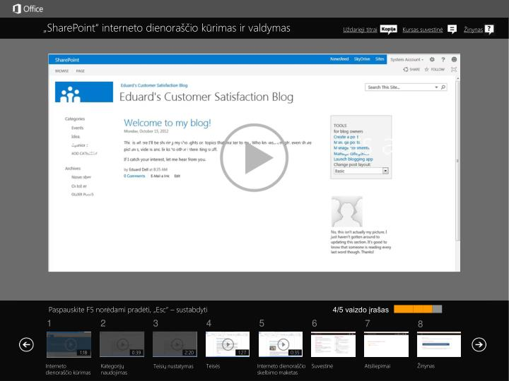 """""""SharePoint"""" interneto dienoraščio kūrimas ir valdymas"""