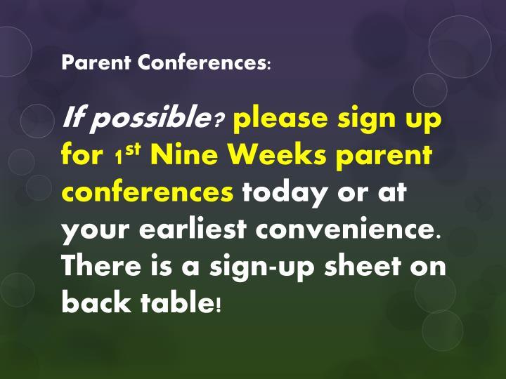 Parent Conferences: