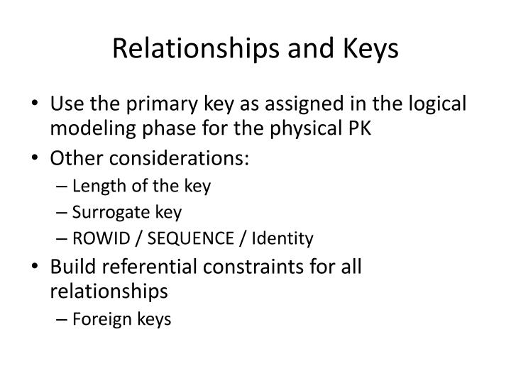 Relationships and Keys