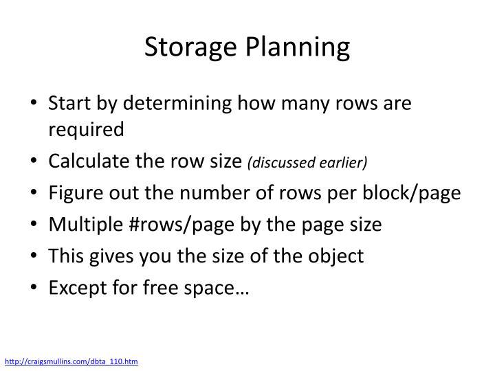 Storage Planning