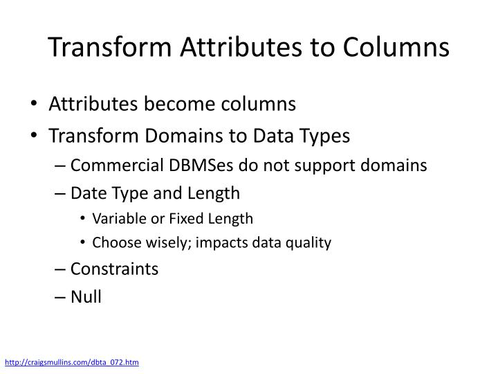 Transform Attributes to Columns