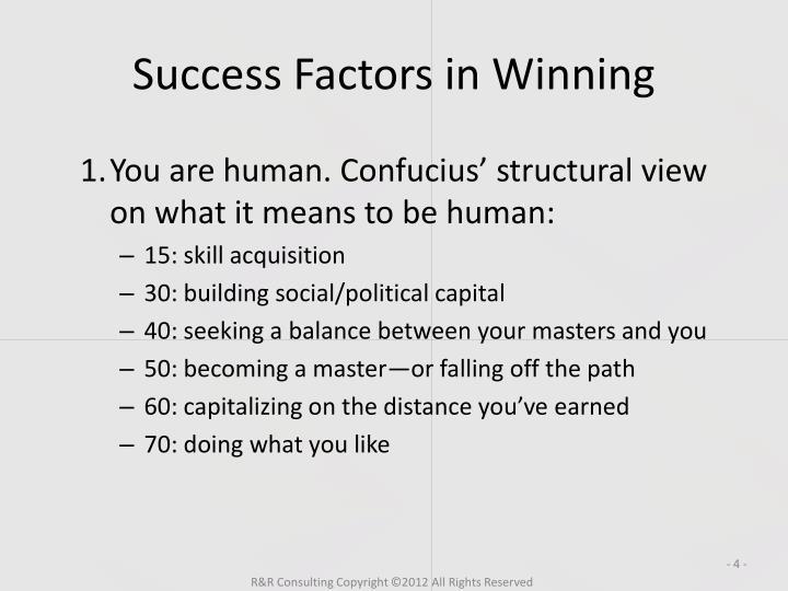 Success Factors in Winning