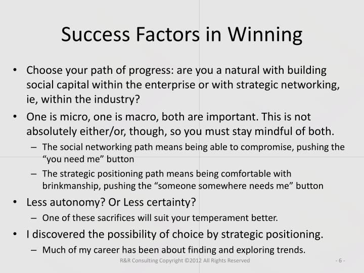 Success Factors in