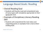 language based goals reading