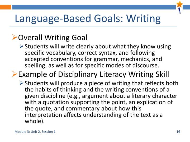 Language-Based Goals: Writing