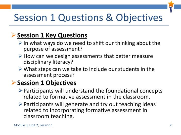 Session 1 questions objectives