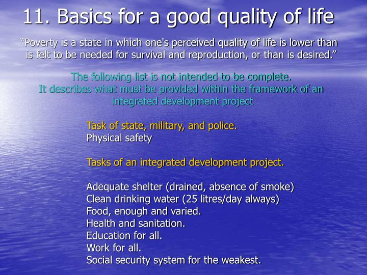 11. Basics for a good quality of life