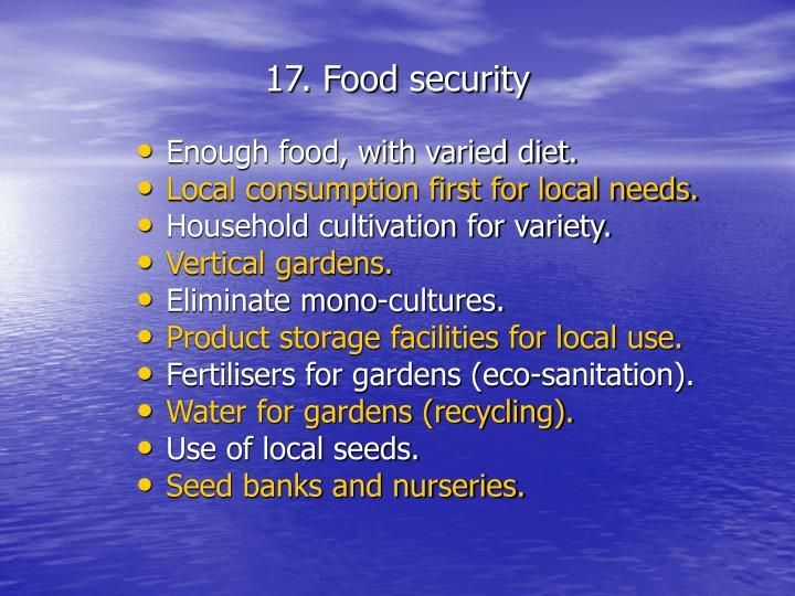 17. Food security