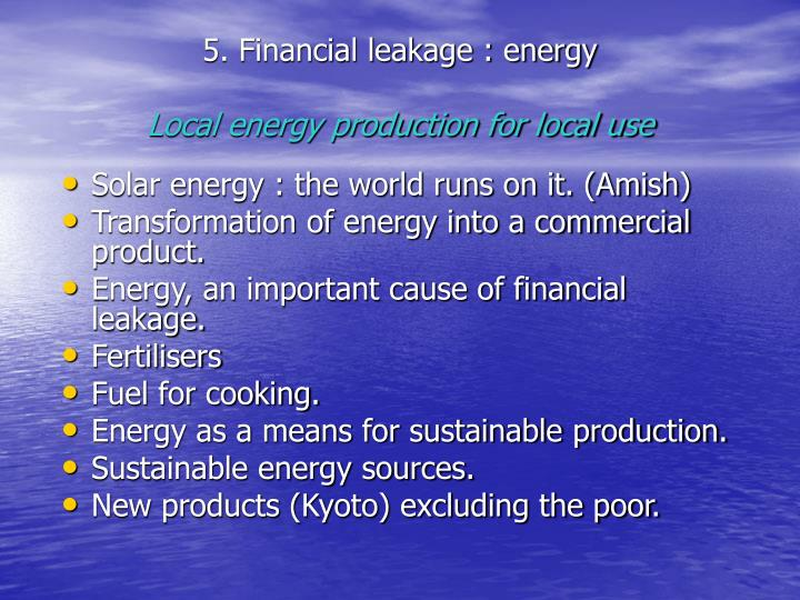 5. Financial leakage : energy
