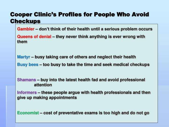 Cooper Clinic's Profiles for People Who Avoid Checkups