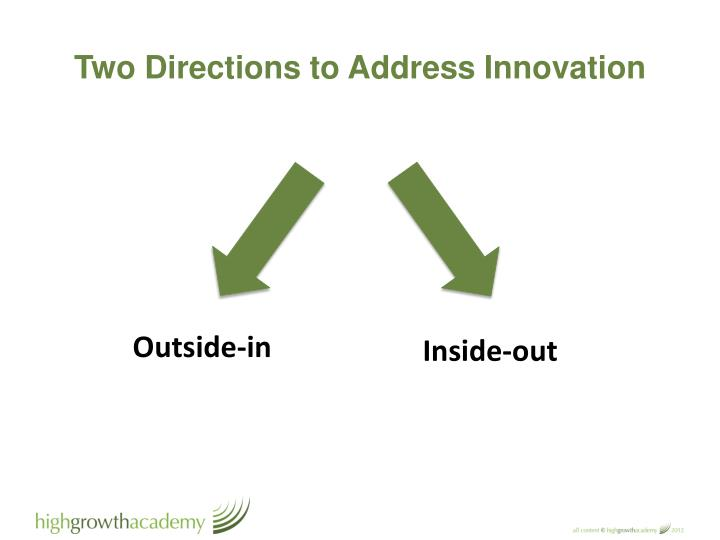Two Directions to Address Innovation