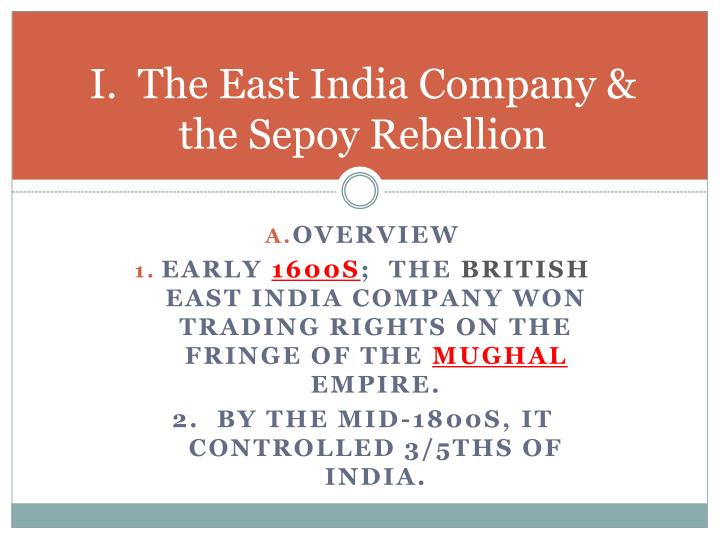 I the east india company the sepoy rebellion