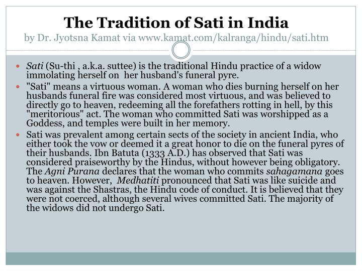 The Tradition of Sati in India