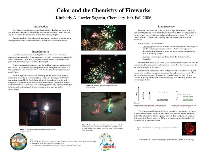 chemistry of fireworks essays After black powder was discovered by the chinese in the 9th century, the  relatively short history of fireworks began with this explosive chemical  composition.