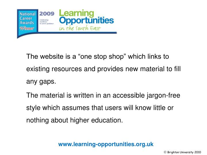 """The website is a """"one stop shop"""" which links to existing resourcesand provides new material to fill any gaps."""